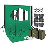 TYCKA Kit de iluminación Estudio fotográfico Softbox Light Kit 2x3m / 79x118in Sistema de Soporte de Fondo Bombillas 5500K para Estudio fotográfico Producto Retrato y Video con Bolsa portátil