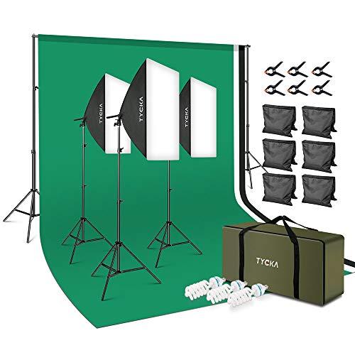 TYCKA Kit d'éclairage pour Studio de Photographie Kit d'éclairage 2x3m / 79x118in Système de Support d'arrière-Plan Ampoules 5500K pour Portrait de Produit de Studio Photo et Prise de Vue