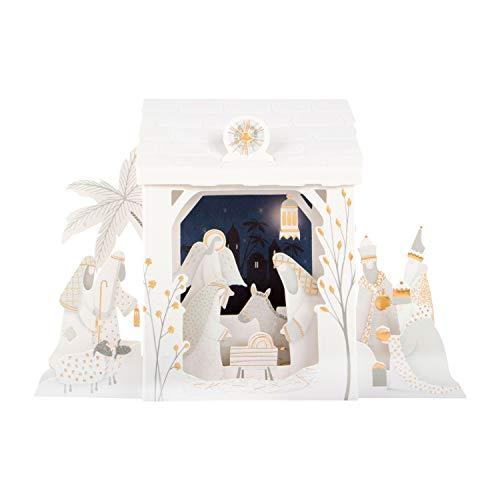 Hallmark Caja de 5 postales de Navidad desplegable con diseño de la adoración en el pesebre en 3D