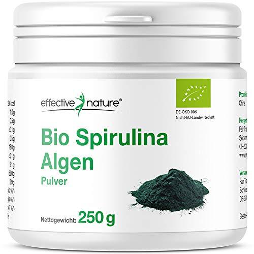 Effective Nature – Bio Spirulina Algen Pulver | 100{05ab8ad300973f70bcc06053fce0ec3b3a730f121cabba1df3584a621723e30b} Rein | Süsswasser Mikroalge | Aus Kontrolliert Biologischem Anbau | Proteinanteil von über 50{05ab8ad300973f70bcc06053fce0ec3b3a730f121cabba1df3584a621723e30b} | Basisch | 250 g