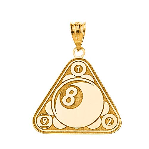 Certified 10k Yellow Gold Personalized Name Eight Ball Billiard Pool Cue Sports Pendant