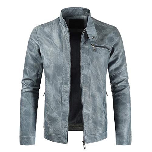 MIS1950s Mens Casual Leather Jacket Full-Zip Bomber Jacket Trend Motorcycle Coat Top (Light Blue,XL)