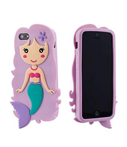 SIX Kids Handyhülle, Case, kompatibel mit iPhone 5, Bouncer, Meerjungfrau, Fantasie, lila, rosa, türkis (483-075)