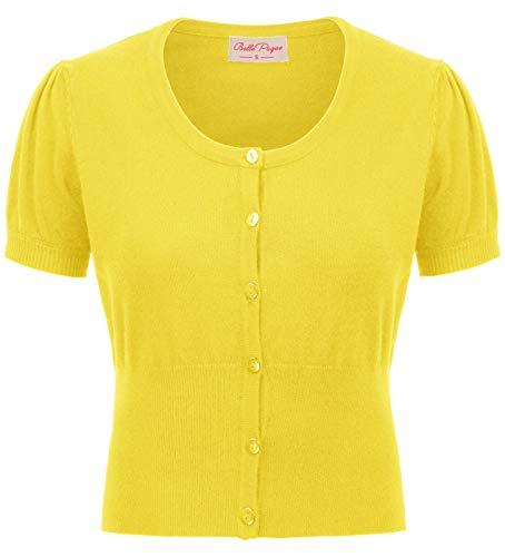 Cárdigan Bolero Claro para Mujer Blusa sin Mangas de Manga Corta de Verano Amarillo Cárdigan BP707-4 XL