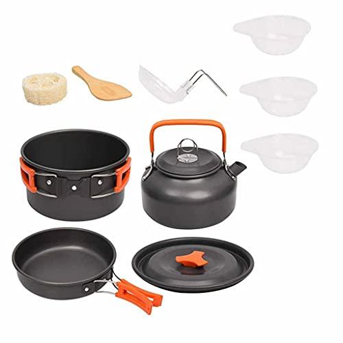 CIJTLO Camping Kit de utensilios de cocina Juego de aluminio al aire libre Juego de cocinas de agua Hervidor de agua Pan Pozo Viajando Senderismo Picnic BARBACOA Equipo de vajilla (Color : B)
