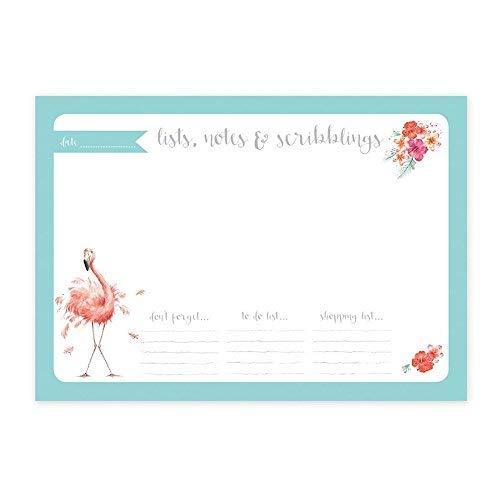 Wrendale Entwürfe - A4 Schreibtisch - Flamingo Design Lists Notes & Scribblings