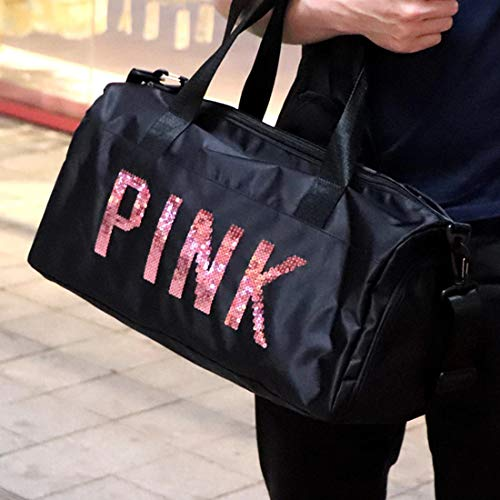 AREO Sport Bags for Men Women Luxury Handbags Pink Letter Large Capacity Travel Duffle Striped Beach Bag on Shoulder for Outdoor Business