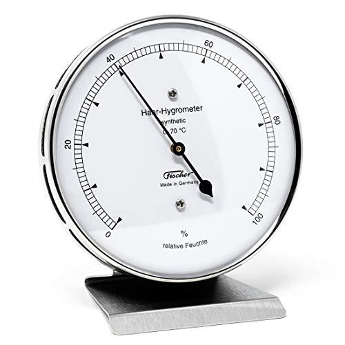 Fischer 122.01-01 - Haar-Hygrometer synthetisch - 103mm Feuchtemesser aus Edelstahl mit Metall-Standfuß Made in Germany