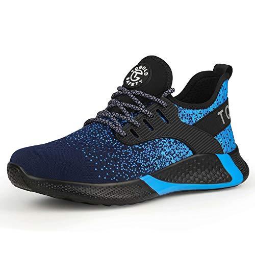 AONETIGER® Chaussure de Sécurité Homme Femme S3 Légères Chaussures de Travail avec Embout de Protection en Acier Respirant Anti-crevaison Bleu Taille 42