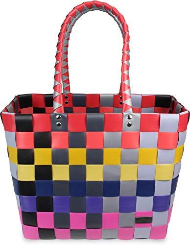 normani® Einkaufstasche Shopper geflochten aus Kunststoff - robuster Strandkorb Vintage Style 38cm x 25cm x 28cm Farbe Classic/Multi