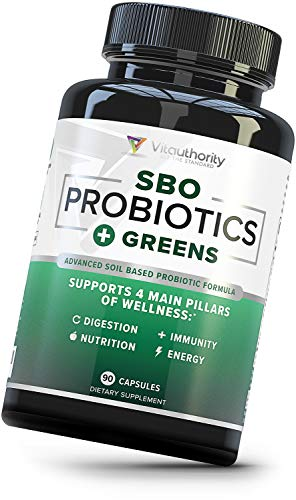 SBO Probiotics + Organic Greens Superfoods Blend: 50 B CFUs Per Serving + Organic Spirulina, Kale, Broccoli, Spinach for Improved Digestion & Immune Support, Shelf-Stable, 30 Servings