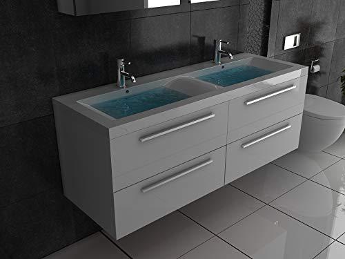 Alpenberger Badmöbel-Set 144 cm Breit | Doppelwaschbecken aus hochwertigem Mineralguss mit Überlauffunktion | Doppelunterschank mit Soft-Close | Komplett Badmöbel-Set für innovative Badgestaltung