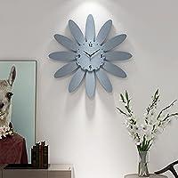 青い花びらの形の壁時計、リビングルーム/ベッドルーム/レストランの装飾品、サイレントバッテリー式、読みやすい