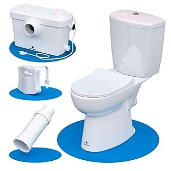 Silent Venus White Upflush Toilet  2-Piece Kit  - Macerating Toilet System with Round-Front Standard Bowl - Powerful Upflush Toilet For Basement  Two-Piece Toilet