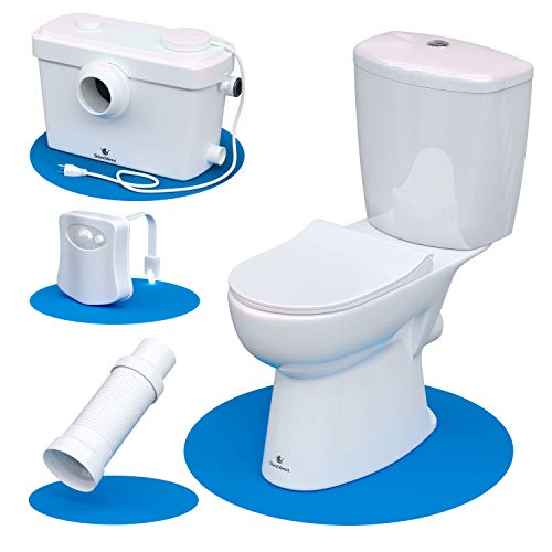 Silent Venus White Upflush Toilet (2-Piece Kit) - Macerating Toilet System with Round-Front Standard Bowl - Powerful Upflush Toilet For Basement
