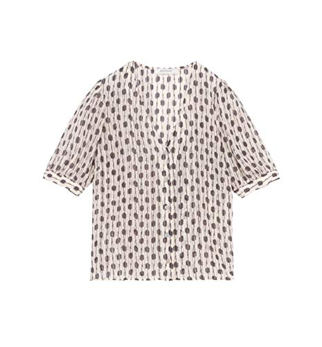 Promod Bluse aus gemustertem Chiffon Schwarz Gemustert 36