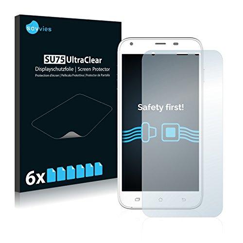 Savvies 6X Schutzfolie kompatibel mit Archos 55 Helium+ Bildschirmschutz-Folie Ultra-transparent