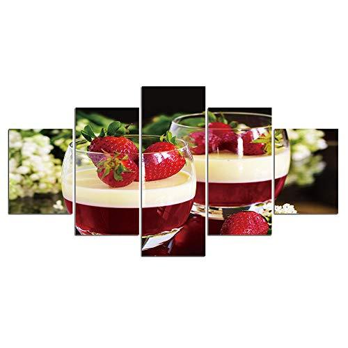 5 Pintura En Lienzo Pintura Vin Rouge Verre À Vin Peinture Sur Toile Fraise Photo Salle À Manger Impression Et Affiches Cuisine Moderne Décor À La Maison Mur-Enmarcado