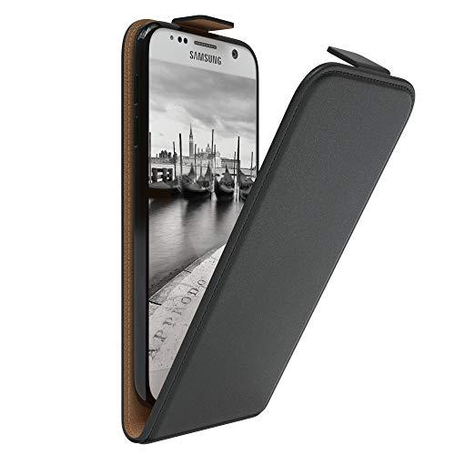 EAZY CASE Hülle kompatibel mit Samsung Galaxy S7 Hülle Flip Cover zum Aufklappen, Handyhülle aufklappbar, Schutzhülle, Flipcover, Flipcase, Flipstyle Case vertikal klappbar, aus Kunstleder, Schwarz