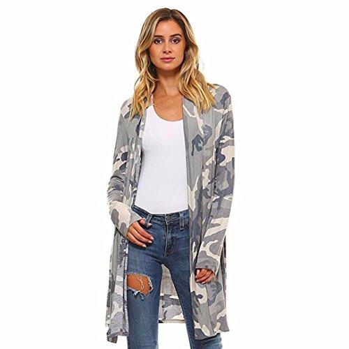 Kolylong® Strickjacke Damen Frauen Camouflage drucken Lange Strickjacke Herbst elegant Mantel Mode Kimono Cardigan Langarmshirt Loose Oberteil Jacke Bluse (L, Grau)