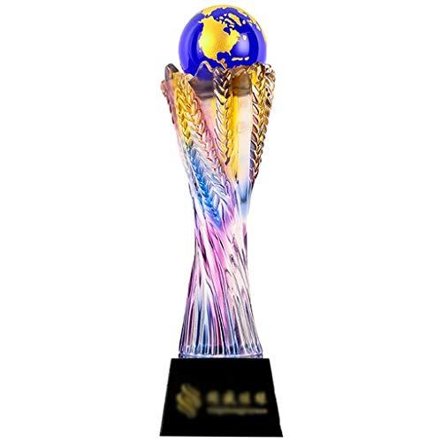 Trofeo Creative Arts Troupe Performing Crystal Trophy Fútbol Baloncesto Golf Trigo Medalla En Forma De Oreja Letras Gratis (Color : Purple, Size : 30 * 8cm)