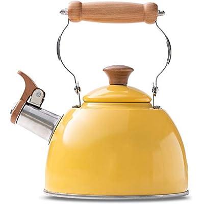 ROCKURWOK Tea Kettle Stovetop Whistling Teapot Yellow, Stainless Steel, 1.6-Quart