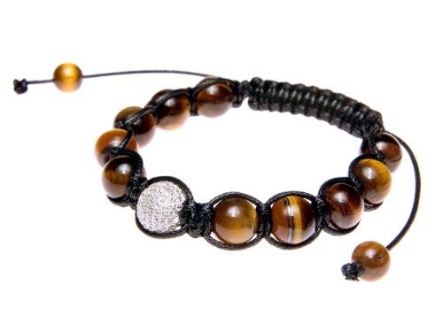 Andante-Stones bracciale SHAMBALA di ottima qualità dimensione regolabile 16-22 cm occhi del tigre con perlina Pavé in argento 925 e zircone CZ + sacchetto di organza
