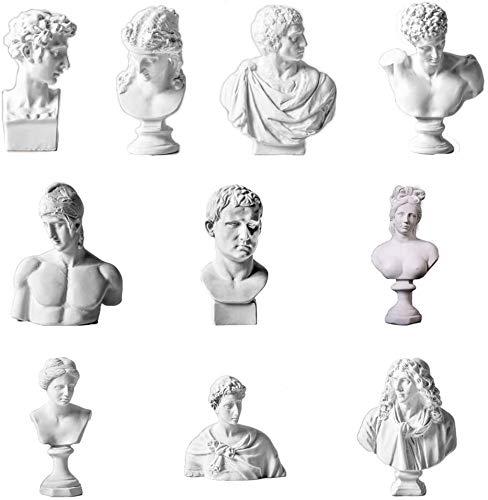 Milter Nordic Style Sculpture Home Decor Zeichnungspraxis Handwerk Berühmte Gipsbüste Statue Griechische Mythologie Figur Gips Portraits (10 Stück)