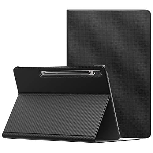 MoKo Funda Compatible con Samsung Galaxy Tab S7 Plus, Cubierta Ligera Anti-Choque Stand Fución Case Cover Protector Compatible con Galaxy Tab S7 Plus 12.4' 2020 SM-T970/976/T975 Tableta, Negro