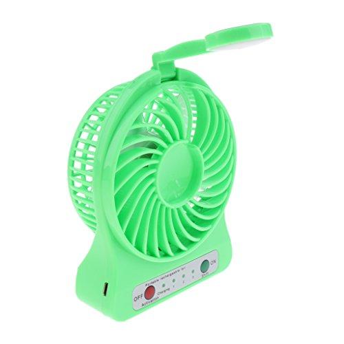 non-brand Tragbar Mini USB Ventilator Tischventilator mit LED Nachtleuchte für Schreibtisch - Grün