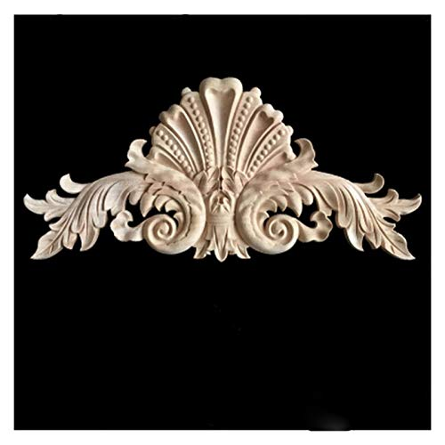 Moldeado de molduras de madera decorativo para muebles para el hogar, madera maciza Aplique incrustaciones de muebles sin pintar las calcomanías de la puerta, talla de madera Apliques de madera decora