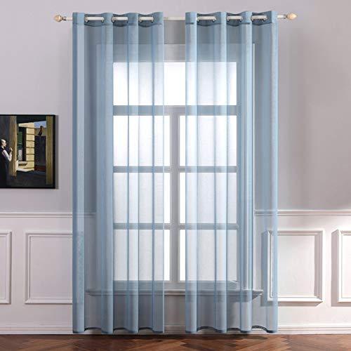 MIULEE 2er Set Sheer Voile Vorhang mit Ösen Transparente Gardine aus Voile Polyester Ösenschal Transparent Wohnzimmer Luftig Dekoschal für Schlafzimmer 140 X 175 cm (B x H),Grommet Top Staubiges Blau