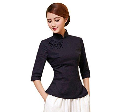 ACVIP Damen Reine Farbe Sieben Punkten Ärmel Klassisch Cheongsam Bluse (EU 42/ Chinese 2XL, Dunkelblau)