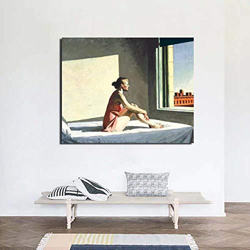 Y-fodoro Edward Jigsaw Puzzles Puzzle, Adultos Hopper Morning Sun Painting Rompecabezas de Madera de 1000 Piezas, Sala de Oficina Juegos de decoración del hogar