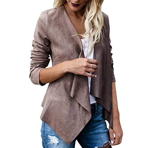 HaiDean Cardigan Damen Elegant Frühling Herbst Longsleeve Wildleder Offener Jacke Casual Jungen Chic Mode Vintage Asymmetrisch Outerwear Mantel (Color : Kaffeebraun, Size : XL)