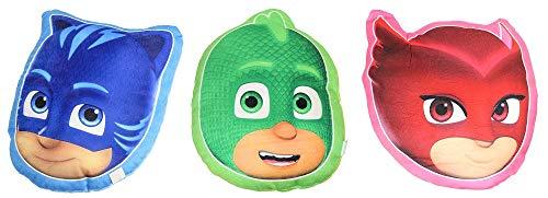 PJ-Masks 3er Pack Formkissen Catboy, Gecko, Eulette je 35 x 33 cm, Dekokissen, Sitzkissen für das Kinderzimmer