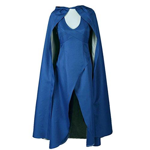 Angelaicos Womens Top Design Cosplay Show Costume Dress Cloak (L) Blue