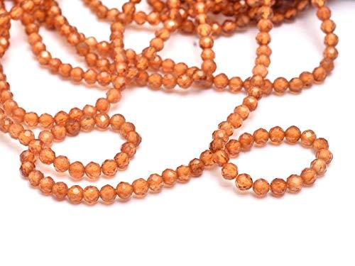 Perline naturali di miele citrino 2 mm - 2,5 mm sfaccettate Rondelle filo di 33 cm AAA citrino semi prezioso, perline rotonde per creazione di gioielli, confezione da 2