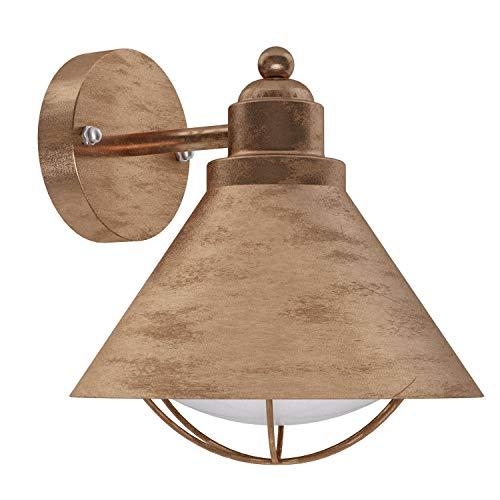 EGLO Außen-Wandlampe Barrosela, 1 flammige Außenleuchte, Wandleuchte aus Stahl verzinkt, Farbe: Kupferfarben-antik, Fassung: E27, IP44