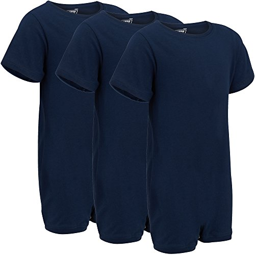 Special Needs Clothing for Older Children (3-16 yrs Old) - Short Sleeve Bodysuit for Boys & Girls by KayCey - Navy (Pack of 3) (13-14 Years Old)