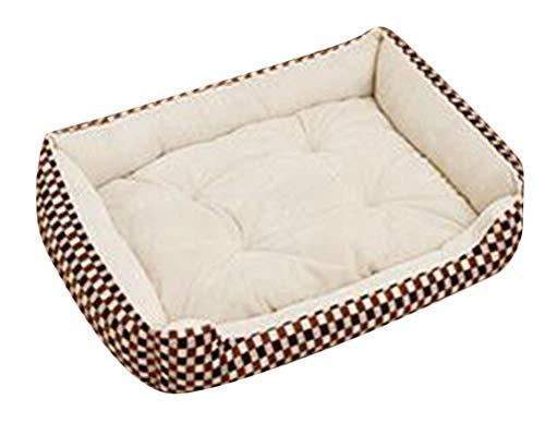 Pet Basket Letto per Animali Domestici Rettangolare Stampa Leopardo Letto per Cani e Gatti Lavabile Removibile Cuccia Sacco a Pelo Beige G XS