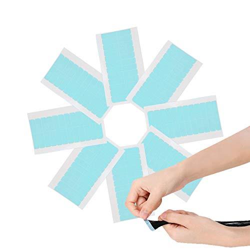 Ersatztapes Klebestreifen, Ersatz Tapes für Tape In Hair Extensions Echthaar, 96 Stücke Super Klebeband für Haarverlängerungen Haareinschlag - Perückenband Doppelseitige Klebebänder (4 x 0.8 cm, Blau)