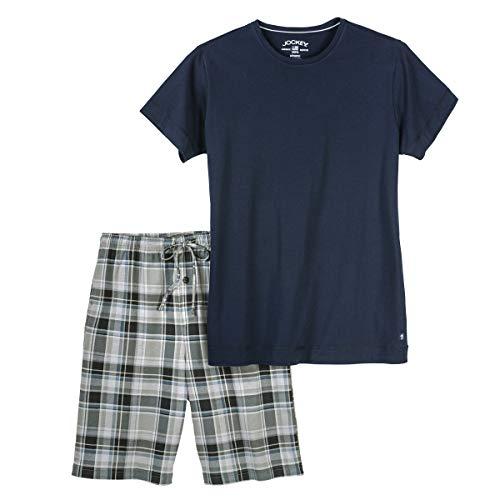 Jockey kurzer Pyjama XXL Navy/kariert, XL Größe:3XL