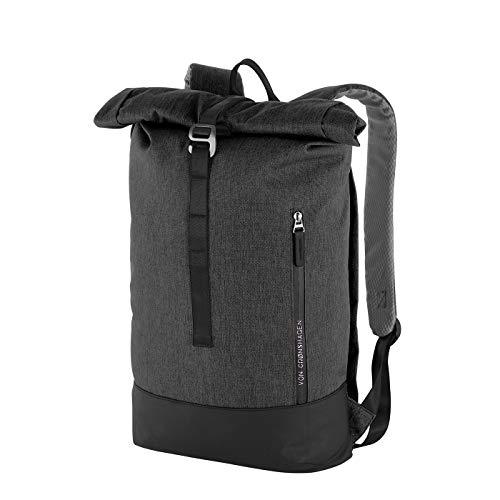 Von Cronshagen Rucksack Tjark 16l | sportlicher Rucksack | für Damen und Herren | Tagesrucksack Unisex | mit gepolstertem Laptopfach (Anthra/Black)