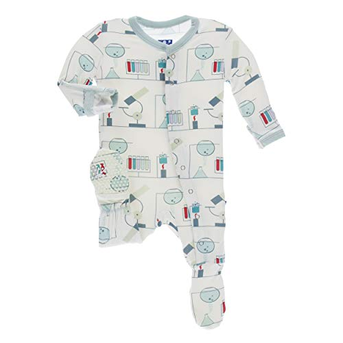 Kickee Pants Little Boys Print Footie with Snaps - Natural Chemistry Lab, 12-18 Months