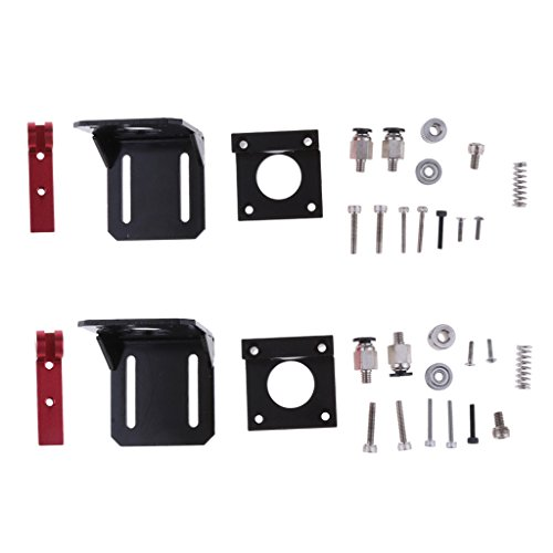 F Fityle 2 Piezas de Impresora 3D Derecha Izquierda MK8 Kit de Extrusora Remota Bloque de Marco de Aleación DIY