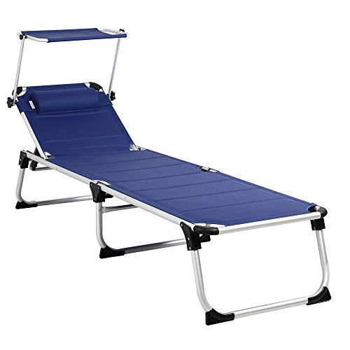 Casaria Sonnenliege Bari gepolstert klappbar 210cm Gartenliege Luxusliege Dreibeinliege Alu Liege Aluminium Klappliege blau