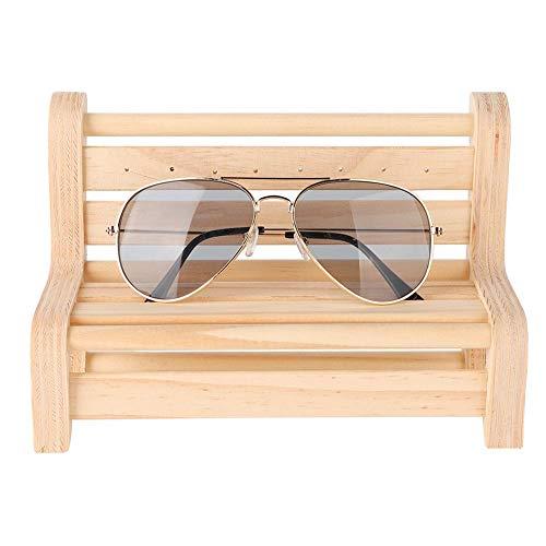 Wandisy 【𝐂𝐡𝐫𝐢𝐬𝐭𝐦𝐚𝐬 𝐆𝐢𝐟𝐭】 Sonnenbrille Display Halter, Massivholz Mini Hocker und Tisch für Sonnenbrille Brillenständer Halter(Bench)