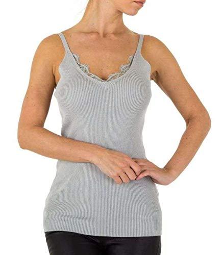 Emma Ashley Top Tirantes Rippstrick Unterhemd Punta V-Ausschnitt Casual Gris Small/Medium