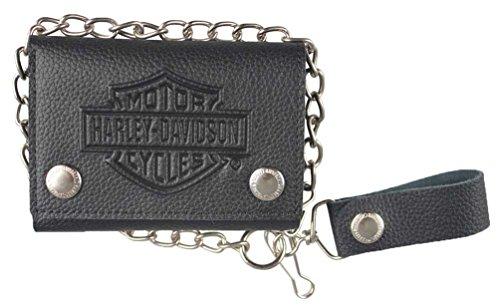 Harley-Davidson Men's Embossed B&S Logo Medium Trucker Wallet, Black XML3517-BLK Shops Wallets